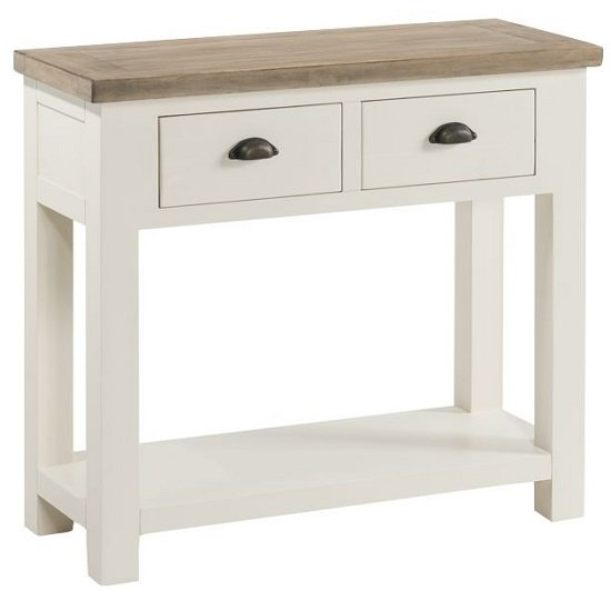 Alaya Large Console Table In Stone White Finish