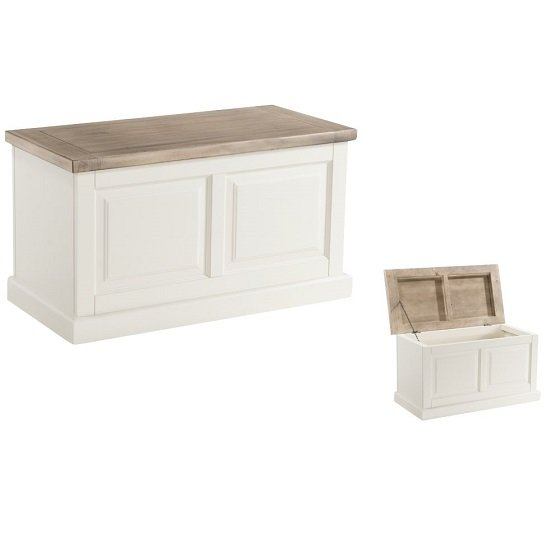 Alaya Wooden Blanket Box In Stone White Finish