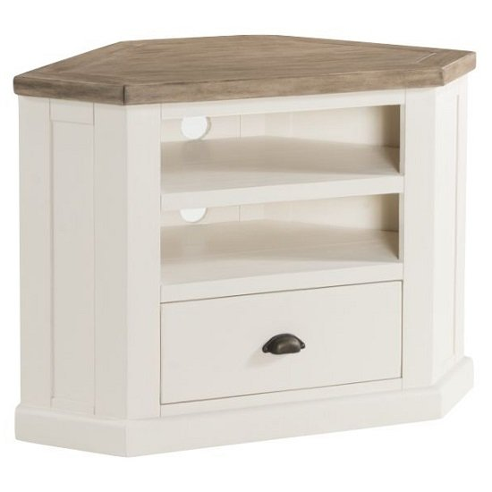 View Alaya wooden corner tv stand in stone white finish