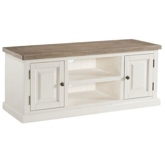 Alaya Wooden Large TV Stand In Stone White Finish