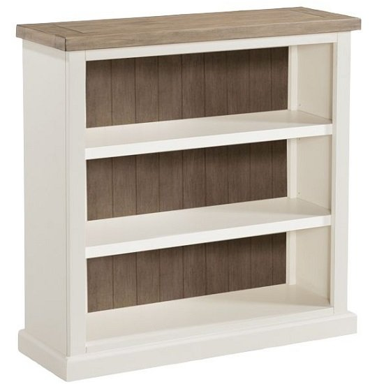 Alaya Wooden Low Bookcase In Stone White Finish_1