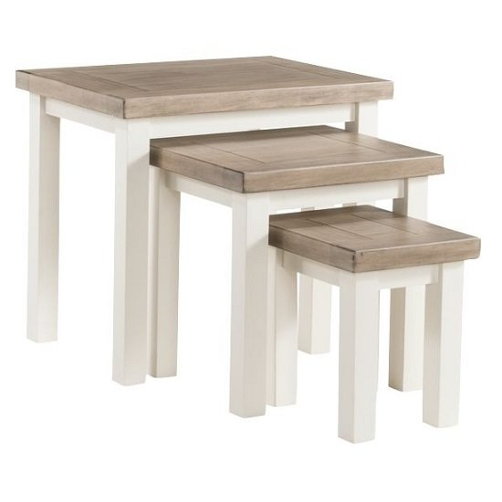 Alaya Wooden Nest Of Tables In Stone White Finish