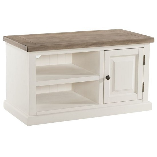 Alaya Wooden Small TV Stand In Stone White Finish