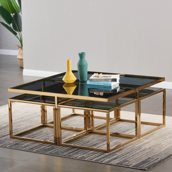 View Alba black glass coffee table with gold stainless steel legs