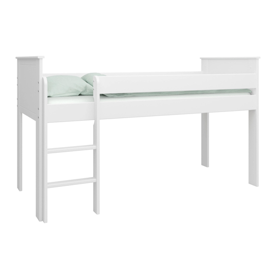 Alba Wooden Children Mid Sleeper Bed In White