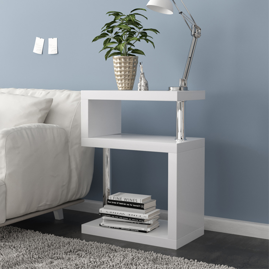 Albania 3 Tier Shelving Unit White High Gloss