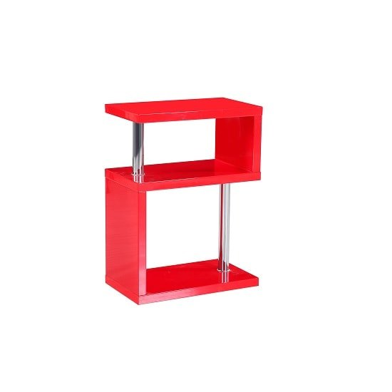 Albania 3 Tier Shelving Unit Red High Gloss