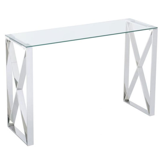 Albany Clear Console Table With Polished Steel Frame