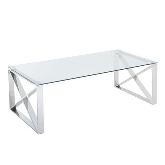 Albany Clear Glass Coffee Table With Polished Steel Frame