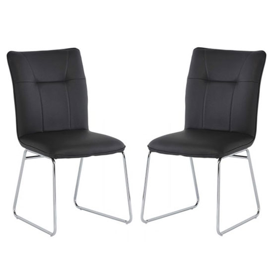 Albany Dark Grey PU Leather Dining Chair In A Pair