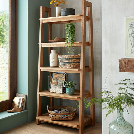 Albas Wooden Ladder Display Unit In Planked Solid Oak