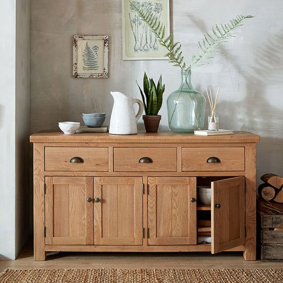 Albas Wooden Large Sideboard In Planked Solid Oak
