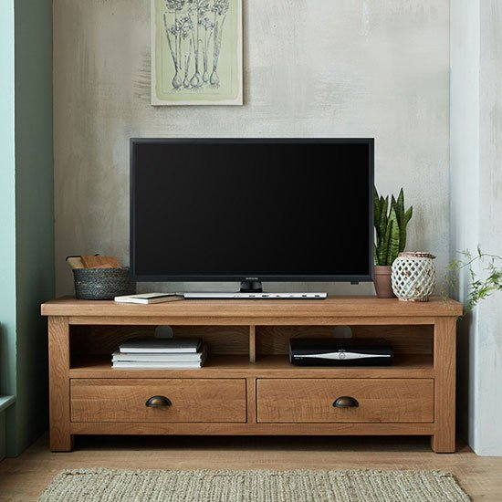 Albas Wooden Large TV Unit In Planked Solid Oak