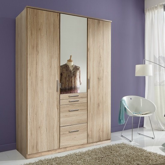 Alberta Mirror Wardrobe In San Remo Oak Effect With 3 Doors