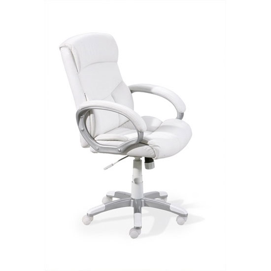Alberti Office Chair In Faux Leather White