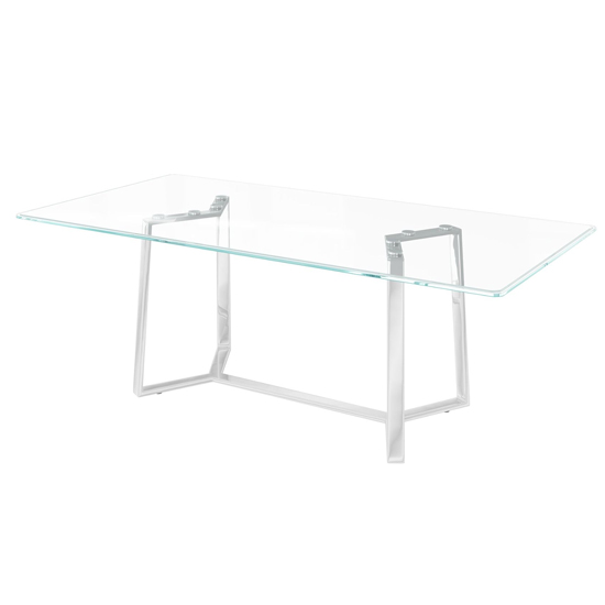 Alberto Glass Dining Table With Stainless Steel Legs