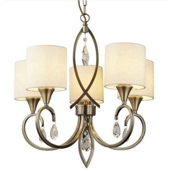 Alberto 5 Light Pendant In Antique Brass With Crystal Drops