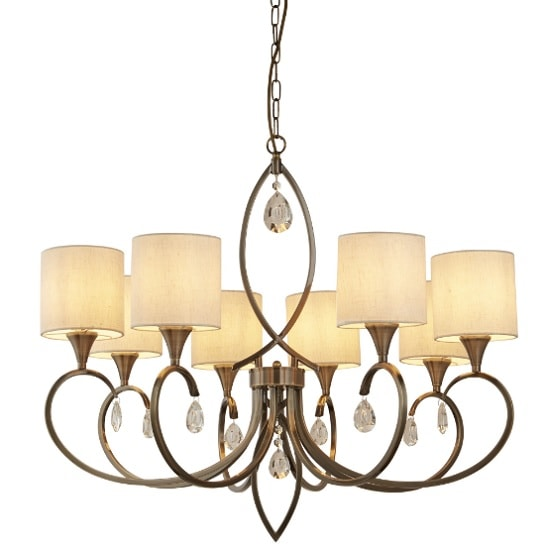 Alberto 8 Light Pendant In Antique Brass With Linen Drops