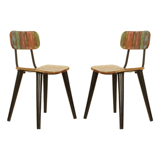 Albion Reclaimed Wood Dining Chairs In Pair