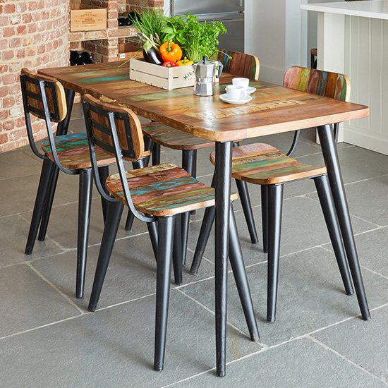 View Albion small dining table in reclaimed wood with 4 chairs