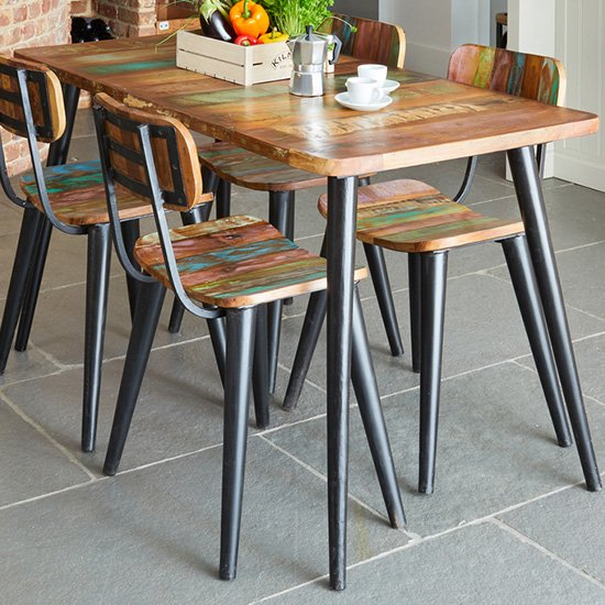 Albion Small Rectangular Dining Table In Reclaimed Wood