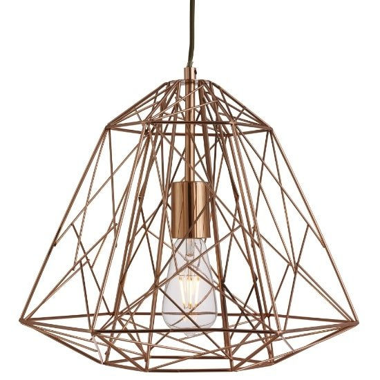 Albion Ceiling Pendant Light In Copper Geometric Cage Frame