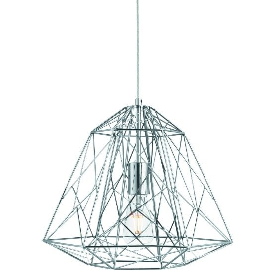 Albion Ceiling Pendant Light In Chrome Geometric Cage Frame