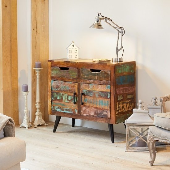 Albion Wooden Sideboard Small In Reclaimed Wood With 2 Doors