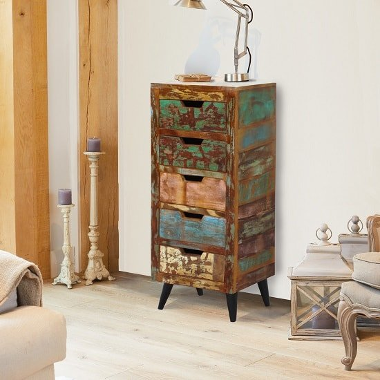 Albion Wooden Chest Of Drawers In Reclaimed Wood