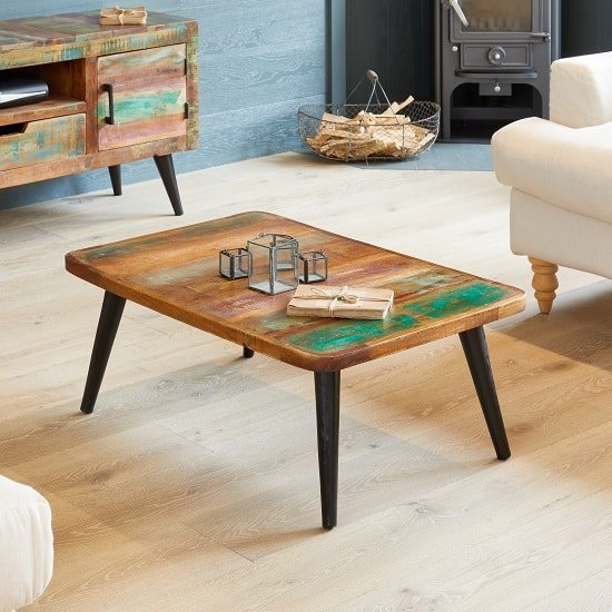Albion Wooden Coffee Table Rectangular In Reclaimed Wood