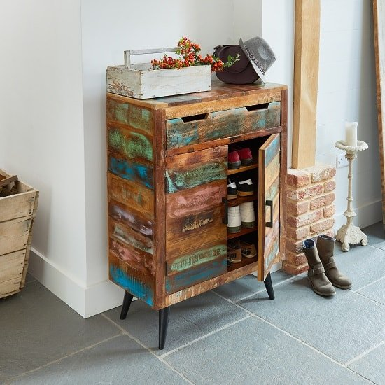 Albion Wooden Shoe Storage Cabinet In Reclaimed Wood_2