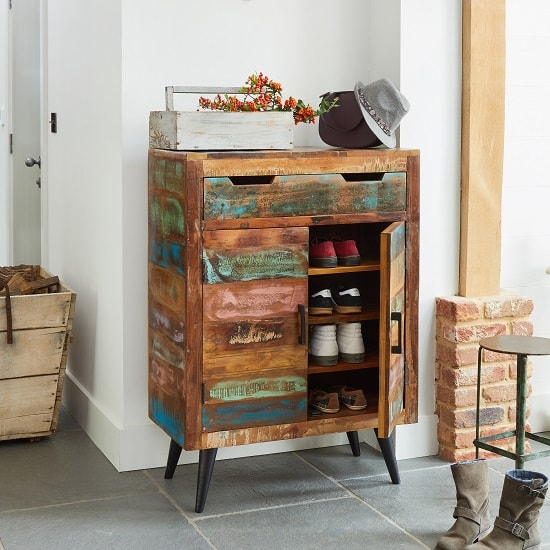 Albion Wooden Shoe Storage Cabinet In Reclaimed Wood_4