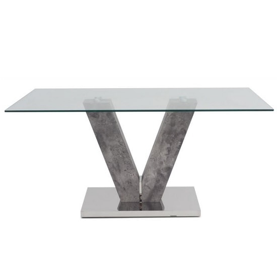 Cuneo Glass Dining Table In Clear And Grey Concrete Look