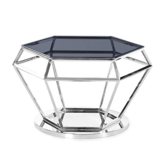 Albury Glass Coffee Table In Smoke With Polished Steel Frame_1