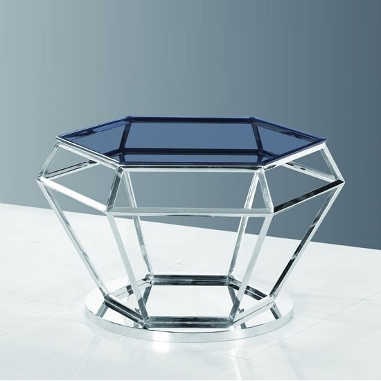 Albury Glass Coffee Table In Smoke With Polished Steel Frame_2