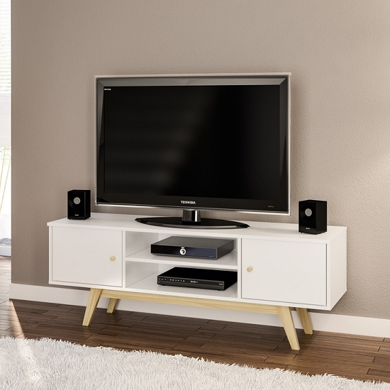 Albury Wooden TV Stand In White With 2 Drawers