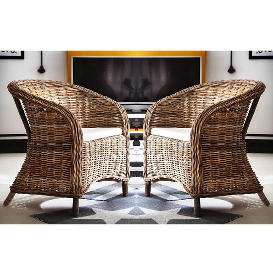 Albury Rattan Armchair In Natural Grey In A Pair