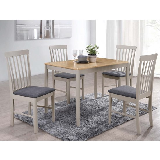 Alcor Fixed Dining Set With 4 Stone Grey Chairs