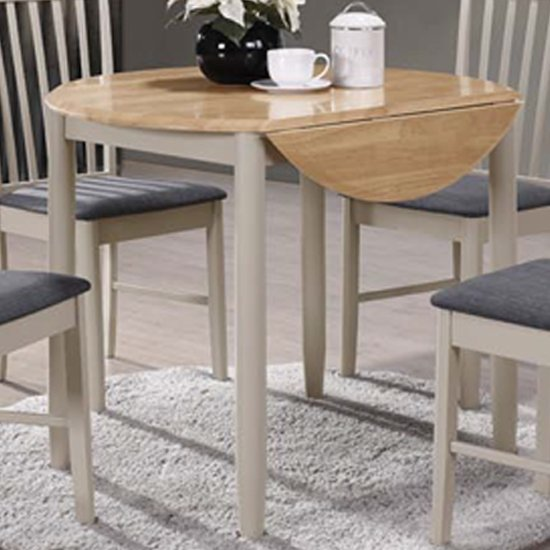 Alcor Round Drop Leaf Dining Table In Stone Grey And Oak
