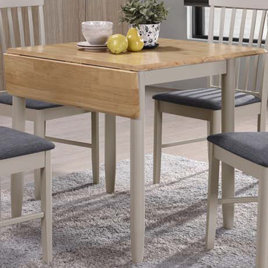 Alcor Square Drop Leaf Dining Table In Stone Grey And Oak