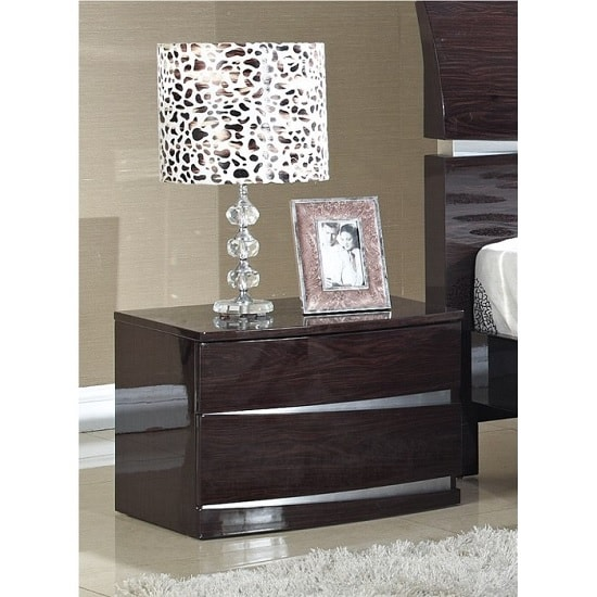 Alcott Bedside Cabinet In Cherry High Gloss With 2 Drawers