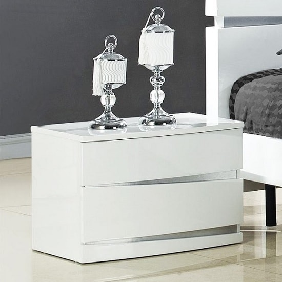 Alcott Bedside Cabinet In White High Gloss With 2 Drawers