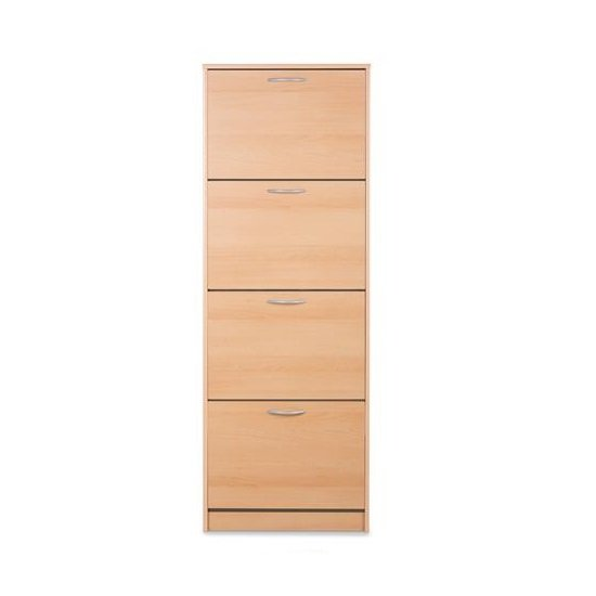Alcott Contemporary Shoe Cabinet In Beech With 4 Doors
