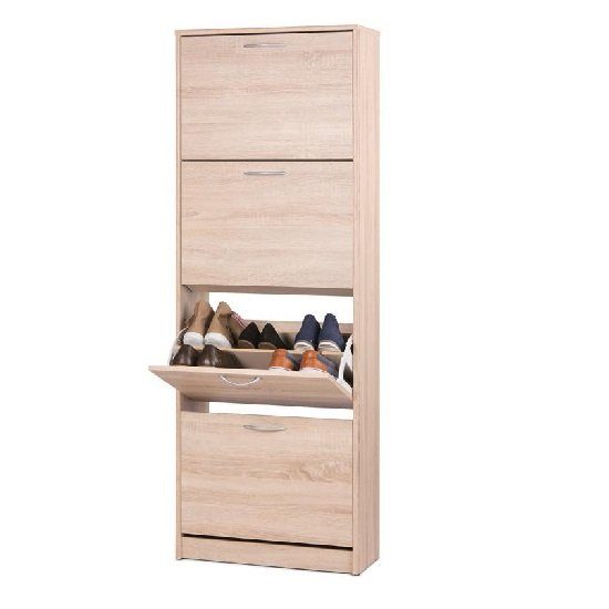 Alcott Contemporary Shoe Cabinet In Sonoma Oak With 4 Doors_2