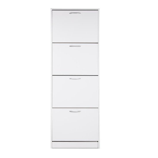 Alcott Contemporary Shoe Cabinet In White With 4 Doors