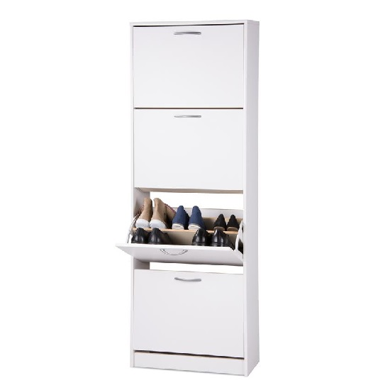 Alcott Contemporary Shoe Cabinet In White With 4 Doors_2