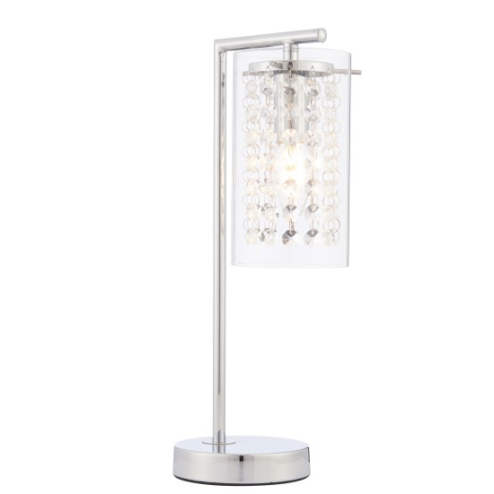 Alda Crystal Glass Table Lamp In Chrome