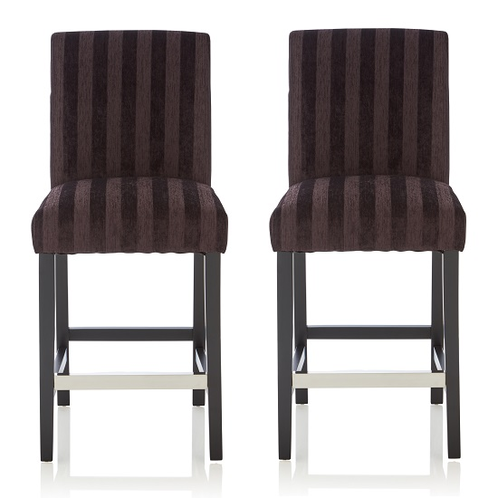 Alden Bar Stools In Aubergine Fabric And Black Legs In A Pair