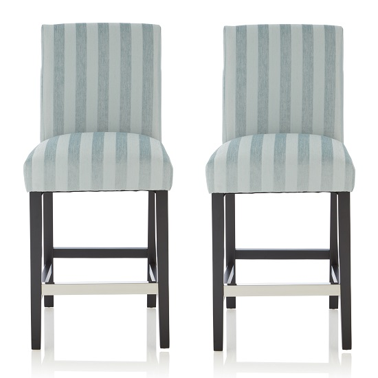 Alden Bar Stools In Duck Egg Fabric And Black Legs In A Pair