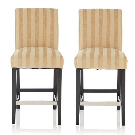 Alden Bar Stools In Oatmeal Fabric And Black Legs In A Pair